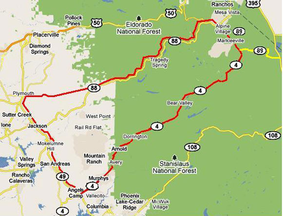 High Country Loop map